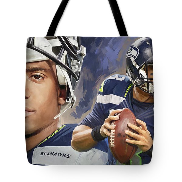 Russell Wilson Artwork Tote Bag