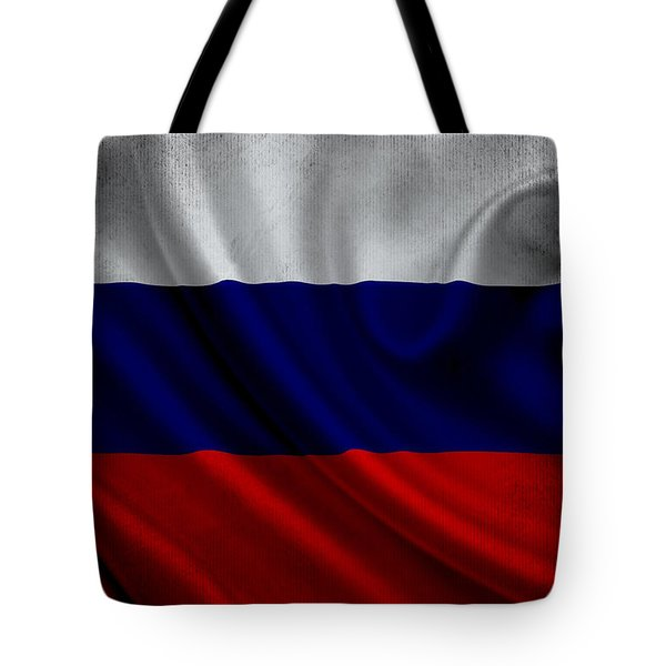Russian Flag Waving On Canvas Tote Bag