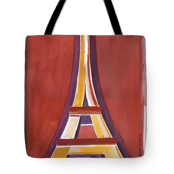 Rust Yellow Eiffel Tower Tote Bag