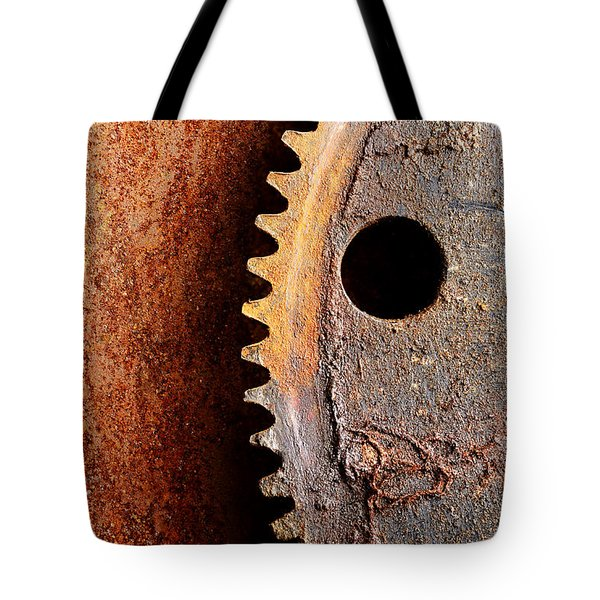 Rusted Gear Tote Bag by Jim Hughes