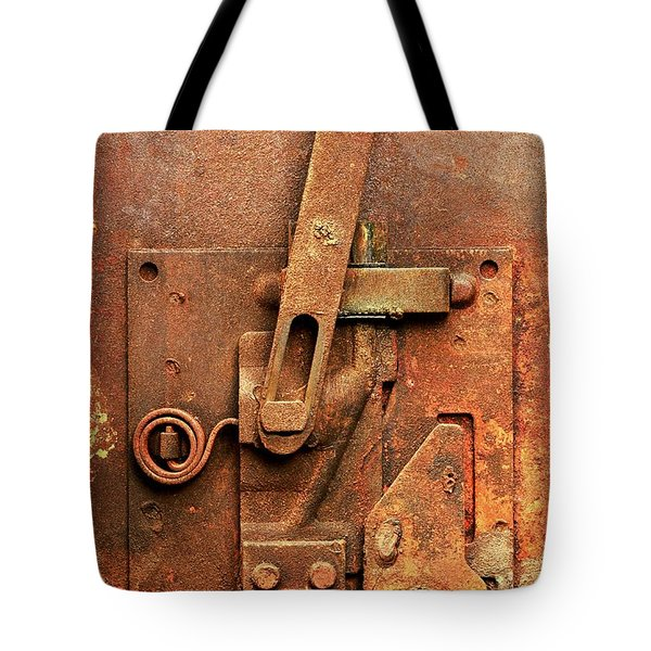 Rusted Latch Tote Bag by Jim Hughes