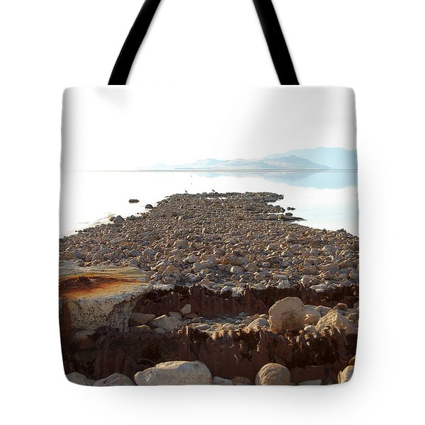 Rusted Pipe Thru Rock Path Tote Bag by Holly Blunkall