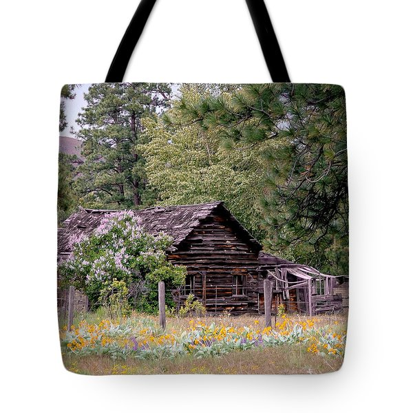 Rustic Cabin In The Mountains Tote Bag by Athena Mckinzie