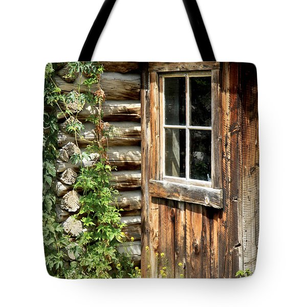 Rustic Cabin Window Tote Bag