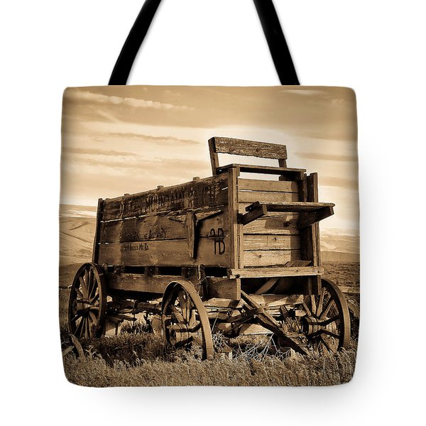 Rustic Covered Wagon Tote Bag by Athena Mckinzie
