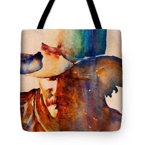 Tote Bag featuring the painting Rustic Cowboy by Jani Freimann