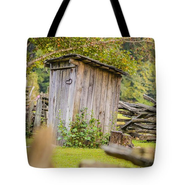 Rustic Fence And Outhouse Tote Bag