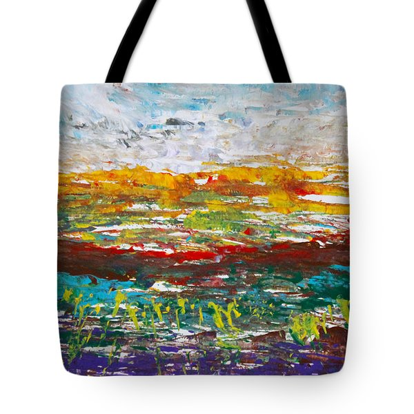 Rustic Landscape Abstract Tote Bag