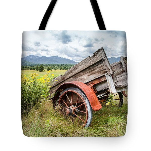 Rustic Landscapes - Wagon And Wildflowers Tote Bag by Gary Heller