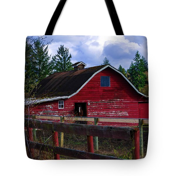 Tote Bag featuring the photograph Rustic Old Horse Barn by Jordan Blackstone