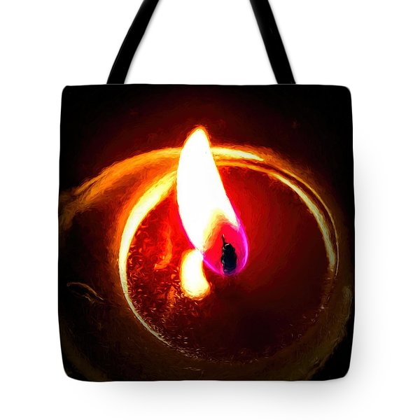 Tote Bag featuring the photograph Rustic Red Candle Candlelit Flame by Tracie Kaska