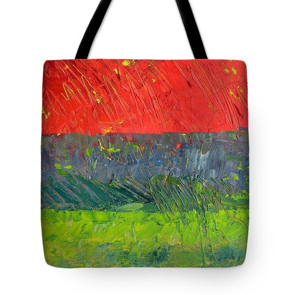 Rustic Roadside Series - Red Sky Tote Bag