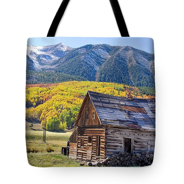 Rustic Rural Colorado Cabin Autumn Landscape Tote Bag by James BO  Insogna