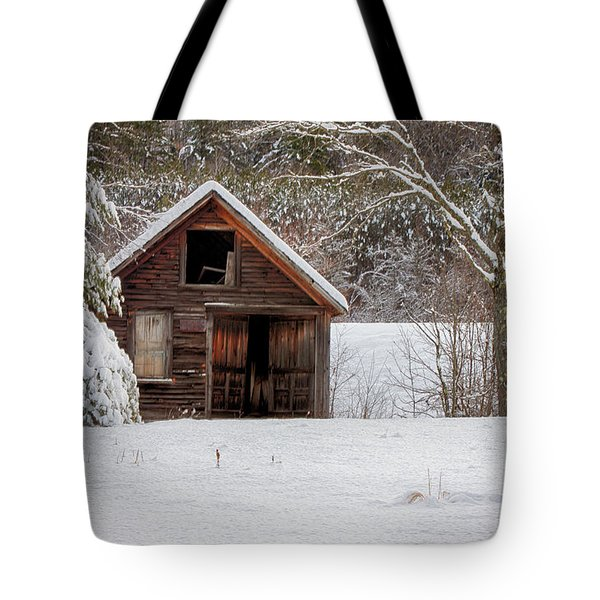 Rustic Shack In Snow Tote Bag