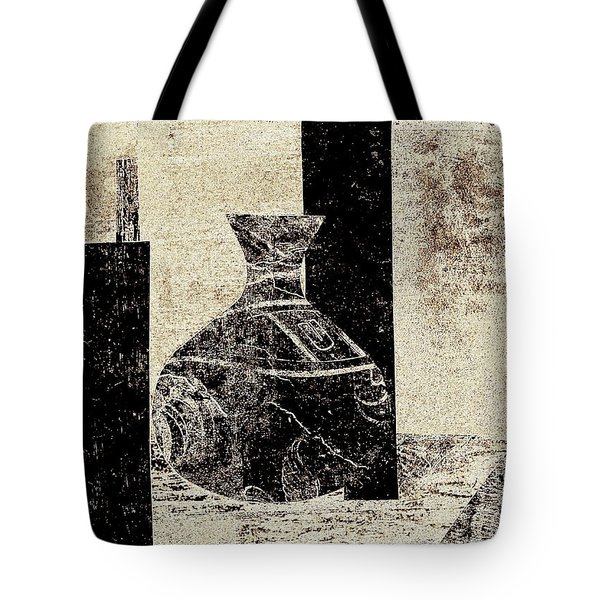 Rustic Vase Black And White Tote Bag