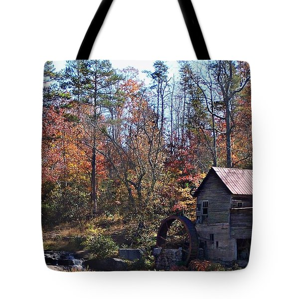 Tote Bag featuring the photograph Rustic Water Mill In Autumn by William Tanneberger