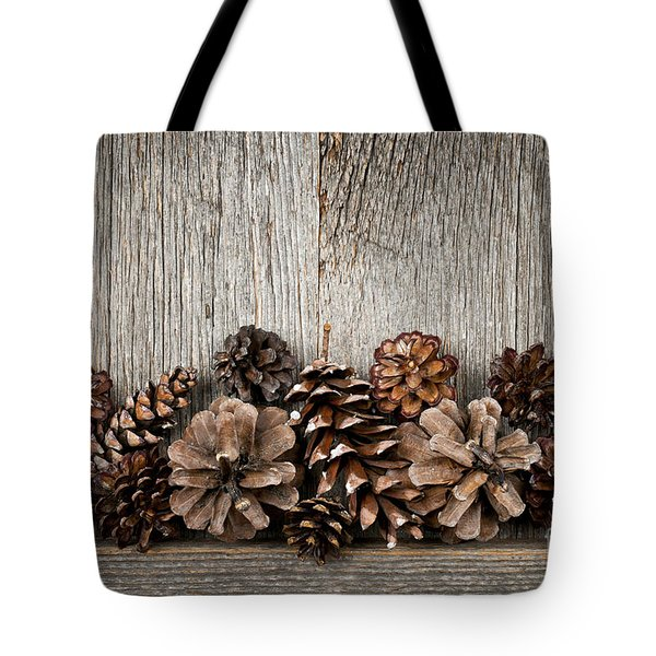Rustic Wood With Pine Cones Tote Bag by Elena Elisseeva