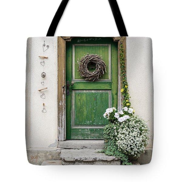 Rustic Wooden Village Door - Austria Tote Bag