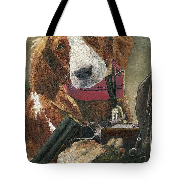 Tote Bag featuring the painting Rusty - A Hunting Dog by Mary Ellen Anderson