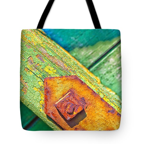 Rusty Bolt On Rotten Green Wood Tote Bag