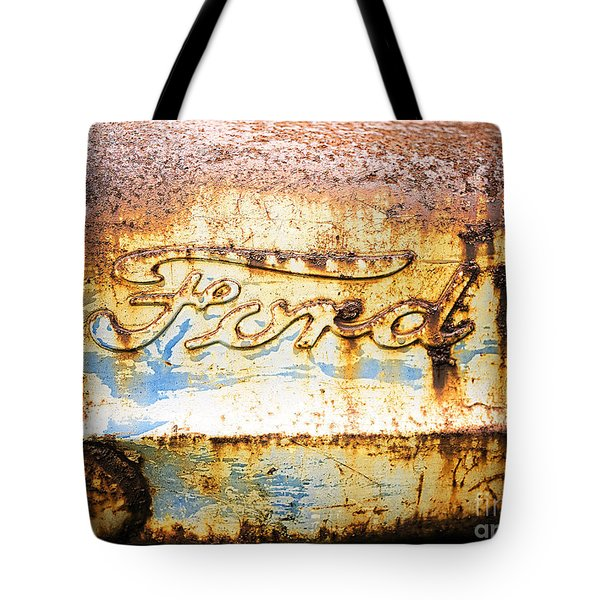 Rusty Old Ford Closeup Tote Bag by Edward Fielding