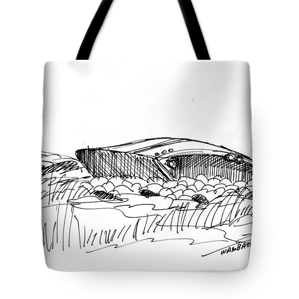 Tote Bag featuring the drawing Rusty Shipwreck 1998 by Richard Wambach