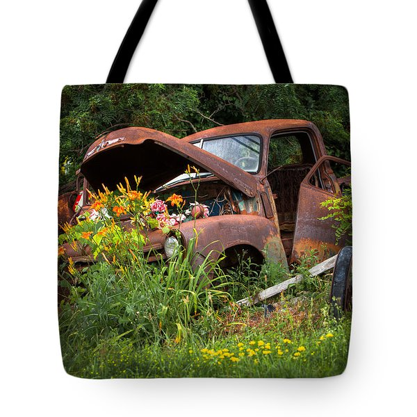 Tote Bag featuring the photograph Rusty Truck Flower Bed - Charming Rustic Country by Gary Heller