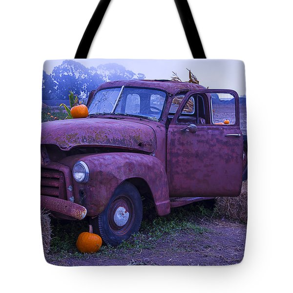 Rusty Truck With Pumpkins Tote Bag by Garry Gay