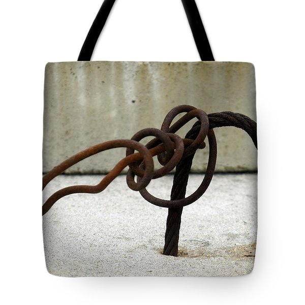 Tote Bag featuring the photograph Rusty Twisted Metal I by Lilliana Mendez