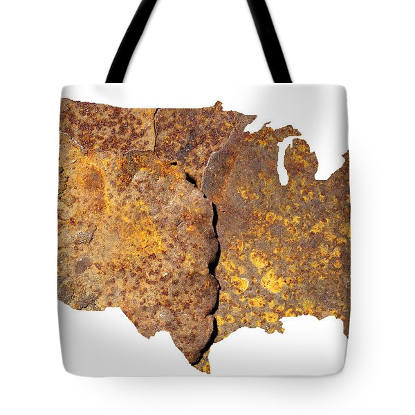 Rusty Usa Map Tote Bag by Tony Cordoza