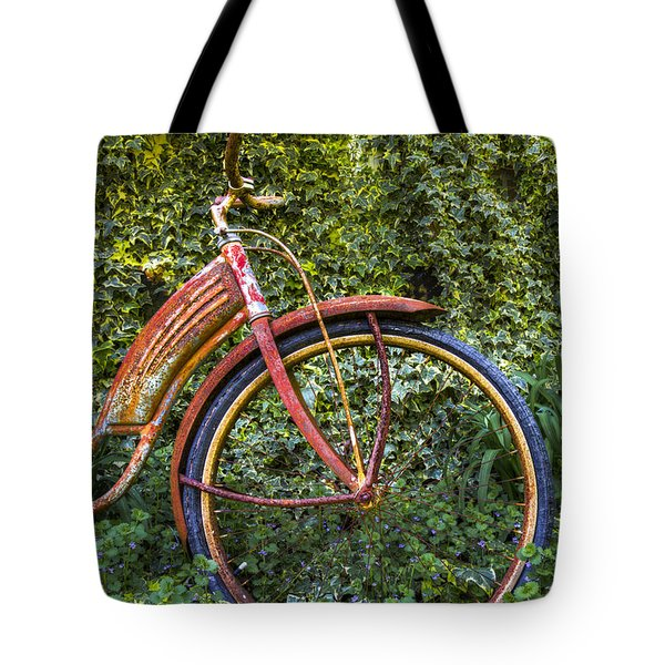 Rusty Wheel Tote Bag by Debra and Dave Vanderlaan