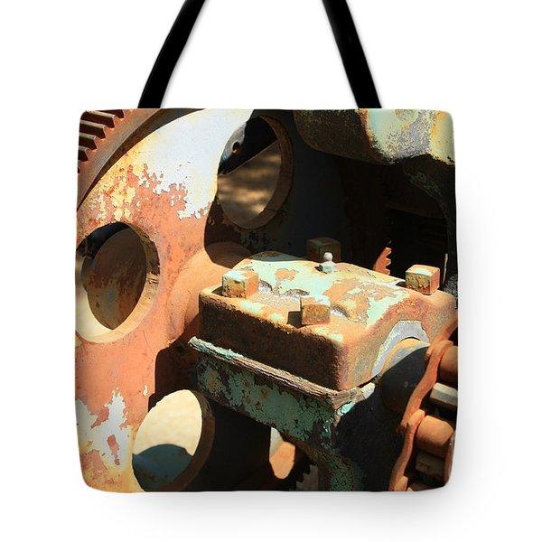 Rusty Wheel Gear Tote Bag by Carol Groenen