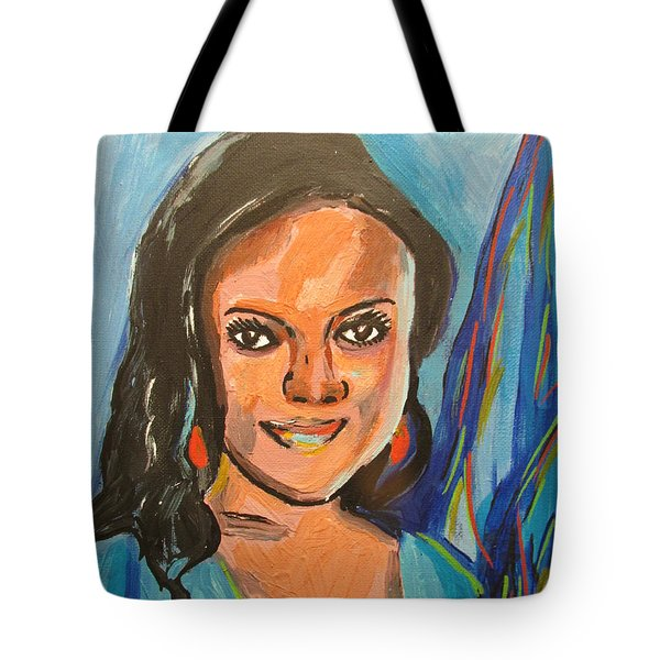 Tote Bag featuring the painting Ruth U - Jalango Town Adamawa Nigerian  by Mudiama Kammoh