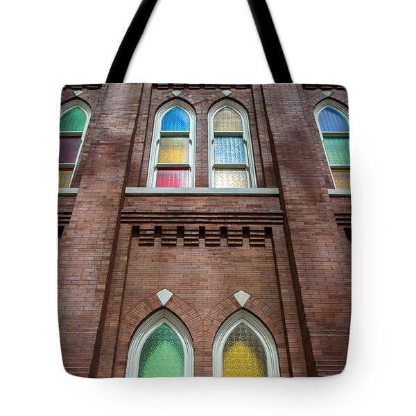 Tote Bag featuring the photograph Ryman Windows by Glenn DiPaola