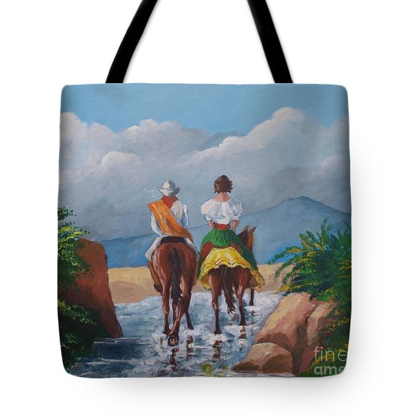 Sabanero And Wife Crossing A River Tote Bag