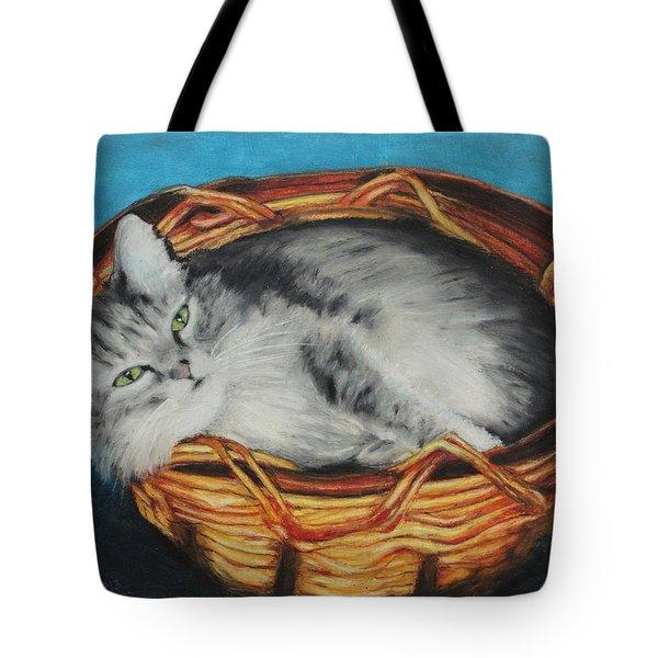 Sabrina In Her Basket Tote Bag by Jeanne Fischer