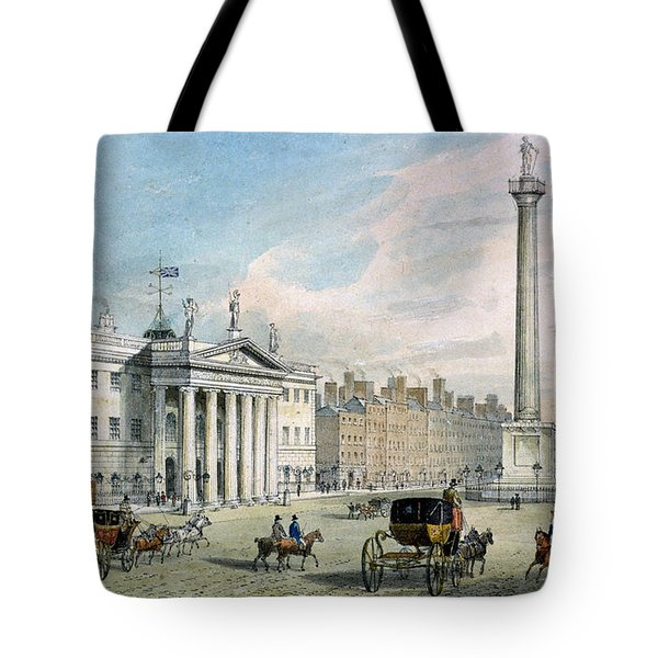 Sackville Street, Dublin, Showing The Post Office And Nelsons Column Tote Bag