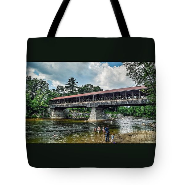 Tote Bag featuring the photograph Saco River Covered Bridge  by Debbie Green