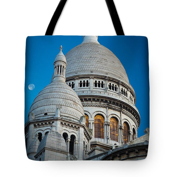Sacre-coeur And Moon Tote Bag by Inge Johnsson