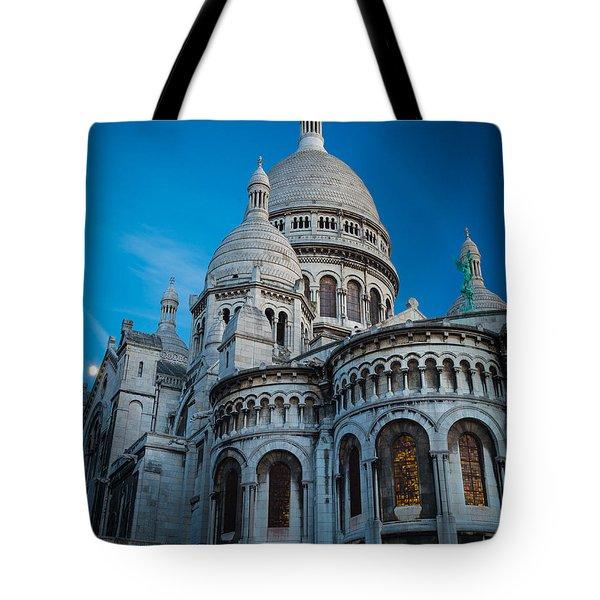 Sacre-coeur At Night Tote Bag by Inge Johnsson