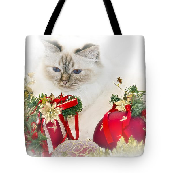 Sacred Cat Of Burma Christmas Time II Tote Bag by Melanie Viola