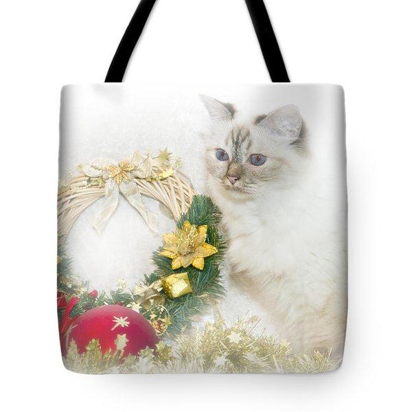 Sacred Cat Of Burma Christmas Time Tote Bag by Melanie Viola