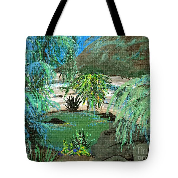 Tote Bag featuring the painting Sacred Cenote At Chichen Itza by Alys Caviness-Gober