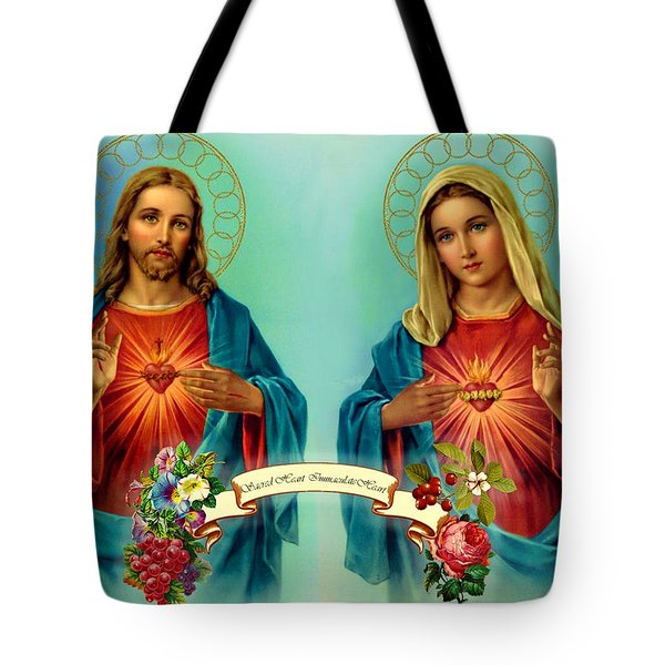 Sacred Heart Immaculate Heart  Tote Bag