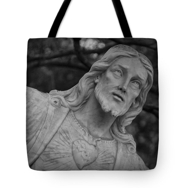 Sacred Heart Of Jesus - Bw Tote Bag