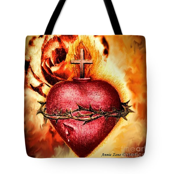 Sacred Heart Of Jesus Christ With Rose Tote Bag by Annie Zeno
