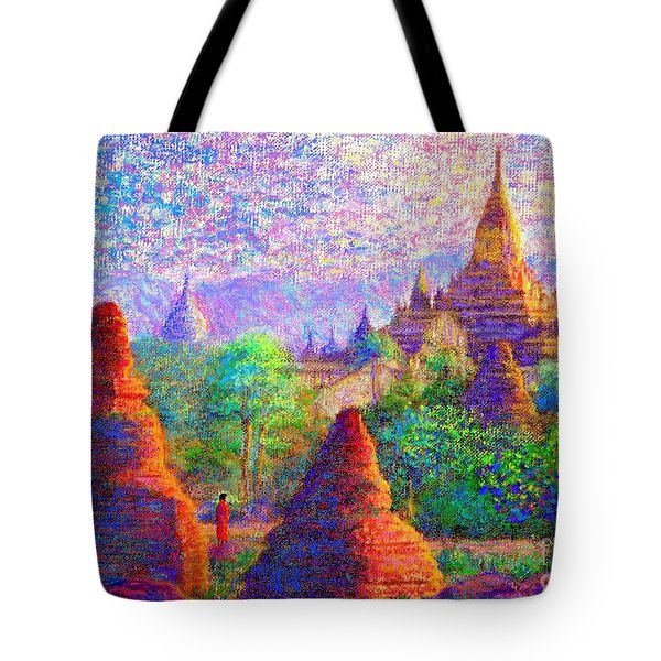 Tote Bag featuring the painting Bagan, Burma, Sacred Spires by Jane Small