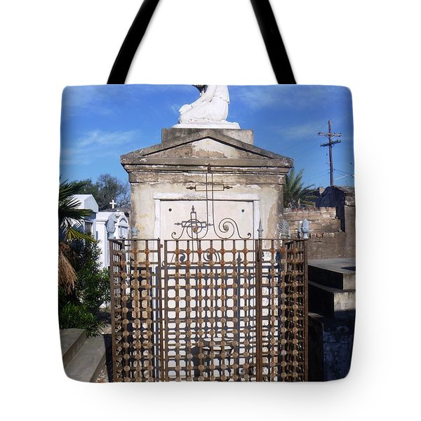 Tote Bag featuring the photograph Saddest Statue Tomb by Alys Caviness-Gober