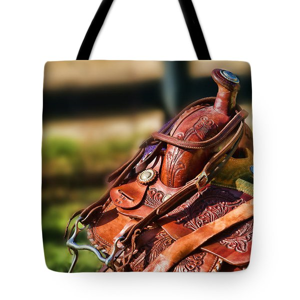 Saddle In Waiting Western Saddle Horse Tote Bag by Eleanor Abramson