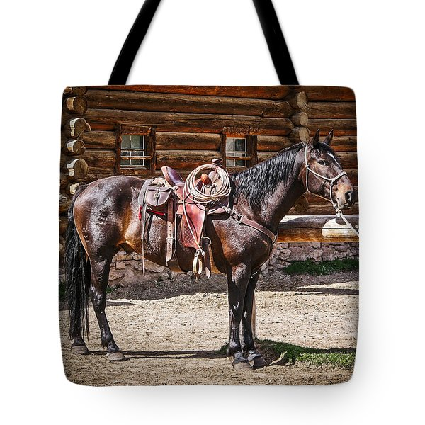 Saddled And Waiting Tote Bag